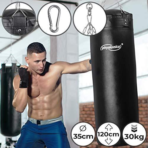Boxsack für Erwachsene | Gefüllt, Ø35 cm, H120 cm, Gewicht 30 kg, inkl. 4-Punkt Stahlkette und Karabinerhaken | Box, Kickboxen, MMA, Taekwando, Kampfsport, Fitness, Sport, Muay Thai, Punching Bag