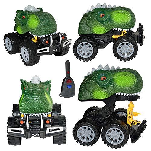 12shage 4 Pcs Pull Back Monster Truck Spielzeug Autos mit Großen Reifen Rad, Niedliche Realistische Tier Spielset Party Gefälligkeiten Kreative Geburtstagsgeschenke für Kinder (Grün) (Holz-monster-truck)