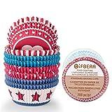 Gifbera, pirottini di carta da forno colorati, per muffin, nocciole, feste, 200 pezzi Red & Blue Theme