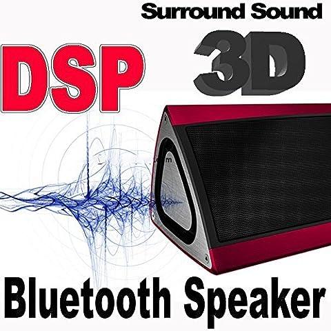 Bluetooth CSR4.0 Lautsprecher Triangle 3D Sound Ultra Bass + DSP Subwoofer Funklautsprecher Sehr EDEL Drei-Vektor-ALU-Gehäuse + Digital Signalprozessor, Stereo 3D Breitband Surround Box /alu-gebürstet + eingebaute 7,4 Volt, 2200 mAh Hochleistungs-Lithium-Ionen-Akku, Funk bis zu 10 Stunden Spielzeit (HimbeerRot)