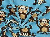 Baumwolljersey Monkeys blau, Meterware ab 0,5 m /