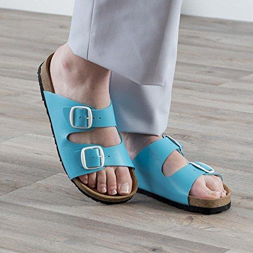 Sandale Femme dessus cuir première en liège semelle micro très confDoré brillanttable. Fabrication Espagnole Turquoise