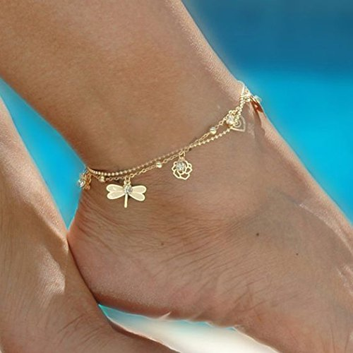 0da245f133ec jovono oro pulsera tobillera playa pie libélula campanas tobillera para las  mujeres y las niñas