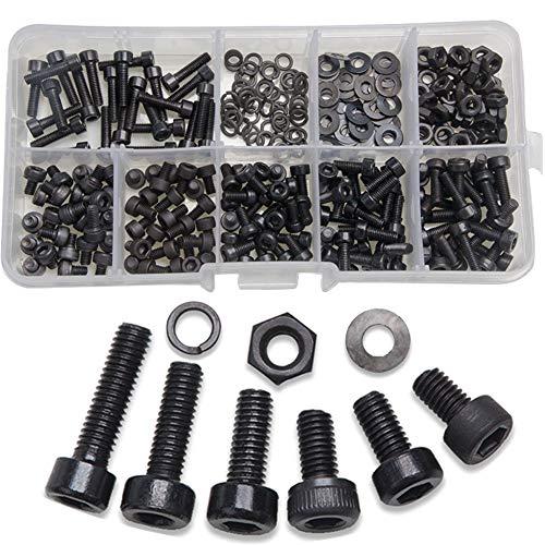 Schrauben Muttern Set,BESTZY 300 Stück M3 Schrauben Set Klassifizierung Schrauben Muttern und Unterlegscheiben Hardware Tools mit Kunststoffbox (Schwarz)