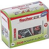 fischer DUOPOWER 6 x 30 S - Universaldübel mit Senkkopfschraube für eine Vielzahl von Baustoffen - Allzweckdübel für Schilder
