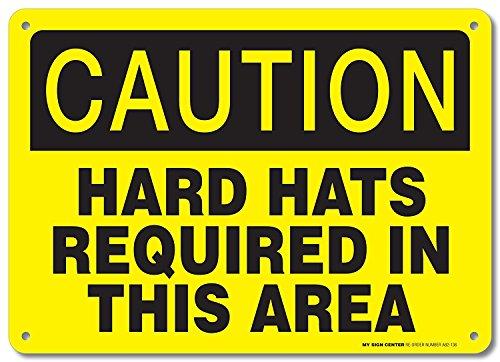 Eugene49Mor Schild Caution. Hard Hüte in Diesem Bereich erforderlich–35,6x 25,4cm .040rostfrei Aluminium–Made in USA–UV-geschützt und Wetterfest–A82–136AL