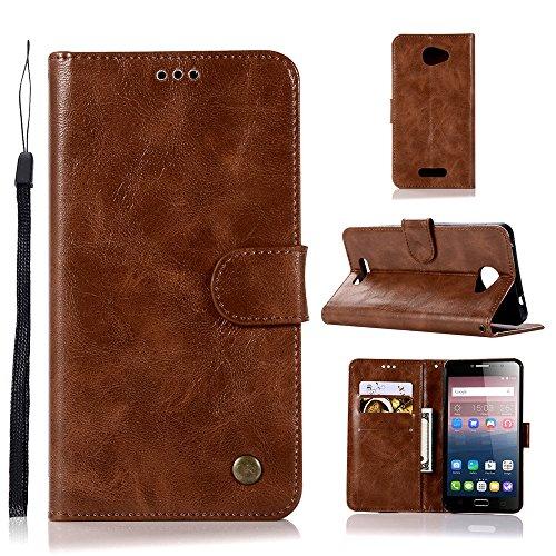 kelman Hülle für Alcatel One Touch Pop 4s Hülle Schutzhülle PU Leder + Soft Silikon TPU Innere Schale Brieftasche Flip Handyhülle - [JX03/Braun]