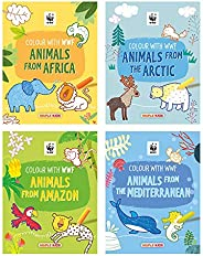 WWF Animal Colouring Books (Set of 4 Books) - Africa, Amazon, Arctic, Mediterranean - Gift to children for pai