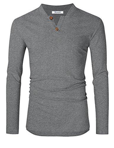 KoJooin Herren Slim Fit Langarm Shirt Langarmshirts herren sweatshirts Henley T-Shirts Grau