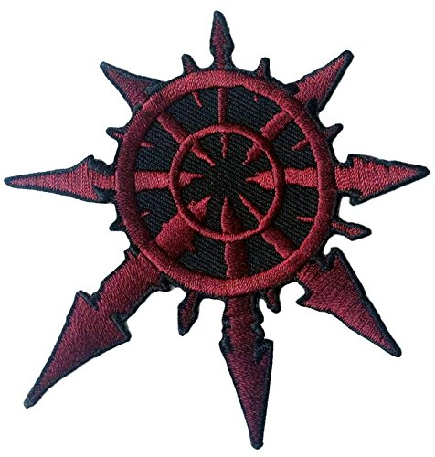 Red Chaos Star of Undivided Warhammer 40K Jacket Biker Patch Iron On Parche Motero Bordado Termoadhesivo