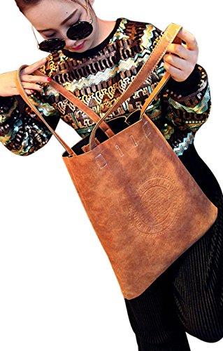 FakeFace Damen Fashion Shopper Einkaufstasche aus PU Leder Schultertasche Umhängetasche Clutch Ledertasche Lederhandtasche 31 x 36 x 3 CM (Weinrot) Gelbbraun