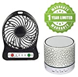#6: Exosis Premium quality Rechargeable Battery USB Mini Fan with S10 Bluetooth Speakers With Calling Functions & FM Radio.