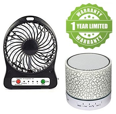 Exosis Premium Quality Rechargeable Battery USB Mini Fan With S10 Bluetooth Speakers With Calling Functions & FM Radio.