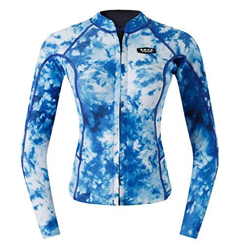 oprenanzug Rash Guard Langarm UV-Schutz Suft Shirt Badeshirt UPF 50+ Rash Guard Oberteile Bademode Figurformend - Blaue Camo M ()