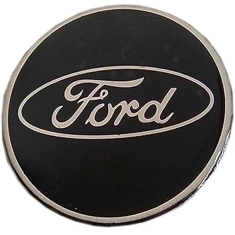 Insigne Ford cercle noir et argent en alliage, badge à coller sur le capuchon central des roues, lot de 4 insignes,verre avec résine déperlante, 60mm