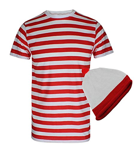 Islander Fashions Mens Rouge et Blanc Rayures Manches Courtes T Shirt Adultes Fantaisie Party Top Hat Set S/XXL