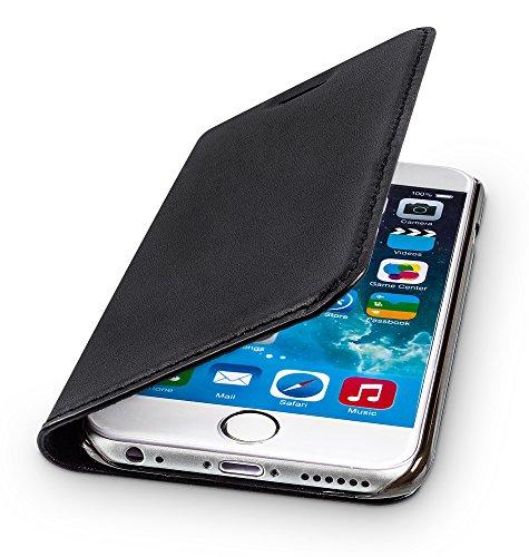 WIIUKA Echt Ledertasche - TRAVEL - für Apple iPhone 6S Plus und iPhone 6 Plus mit Kartenfach, extra Dünn, Tasche Schwarz, Leder Hülle kompatibel mit iPhone 6 Plus / 6S Plus - Iphone Telefonieren 6 Plus
