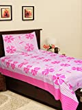 Homefab India Patch 140 TC Cotton Single Bedsheet with Pillow Cover - Modern, Pink