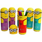 INNOVATIVE Minions Shape Pencil Box Having Sketch Pen/Stationary Kit - 12 Pens | Birthday Party Return Gift For Kids (SET OF 12)