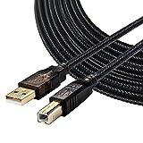 Bolongking Câble pour imprimante, USB 2.0mâle A/mâle B compatible avec imprimantes HP, Canon, Lexmark, Epson, Dell, Xerox, Samsung et plus encore, 7.5m, 1