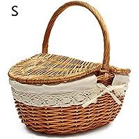 Picknickkorb mit Henkel, Kleiderbügelkorb, Weidenkorb, oval, gefüttert, mit Deckel