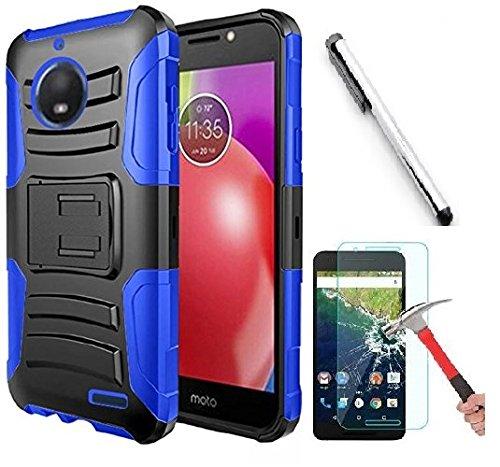 luckiefind Fall kompatibel Motorola Moto E5Plus/Moto E5Supra, Dual Layer Hybrid Seite Ständer Schutzhülle Clip Zubehör, Blue Motorola Cell Phone Faceplates