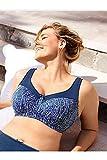 Ulla Popken Damen große Größen bis 130D | Entlastungs-BH Kelly | Wäsche | grafisches Muster | dunkelblau 105C 715665 73-105C