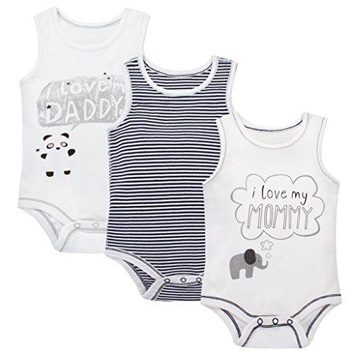 Shenzhen Windy Trading Co.,Ltd Unisex Baby Achselbody im 3er Pack - Baumwolle Body Ärmellos Schlafanzug 3-6 Monate
