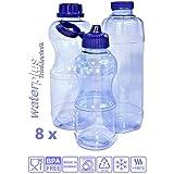 8x Tritan botella BPA libre, sin sustancias nocivas, Juego de ahorro de: 3x 1litro. (redondo), 2x Botella de 1L (cuadrada), 3x 0,5litros Botella (redondo) + 5, + Estándar, 4estancas y 2tapas, agua de botella de botella de N N de N Deportes de Tritan botella de N Tritan botella de de N