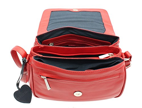 Borsa Tracolla Mala Leather Collezione ANISHKA in Pelle con Sezione Tripla 764_75 Rosso Rosso