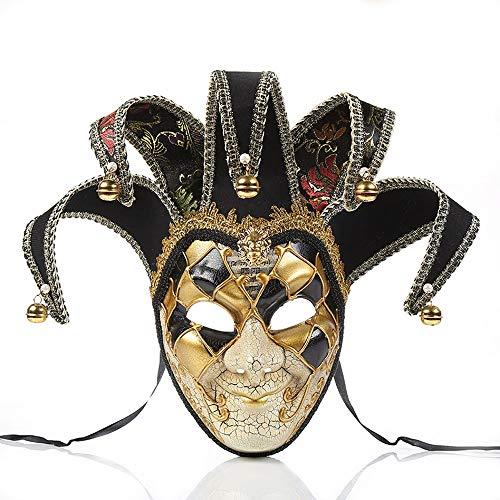 YCWY Venezianische Partei Maske, Joker Maskerade Theater Riss Gold Maske Halloween Cosplay Maske Karneval Kostüm,Black