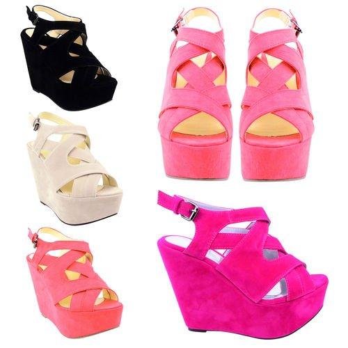 Dames Des Femmes Les Sandales a lanieres des Chaussures de Haut Cale De Taille SANDALES Beige