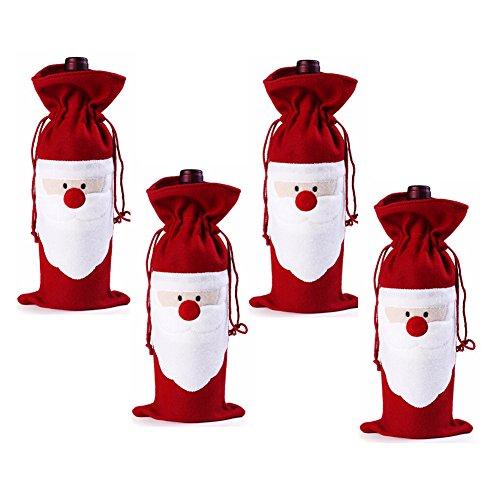 Keysui Weihnachtsmann Weinflasche Tasche Weihnachten Geschenktüte für Wein/Sekt/Spirituosenflaschen(Pack of 4)