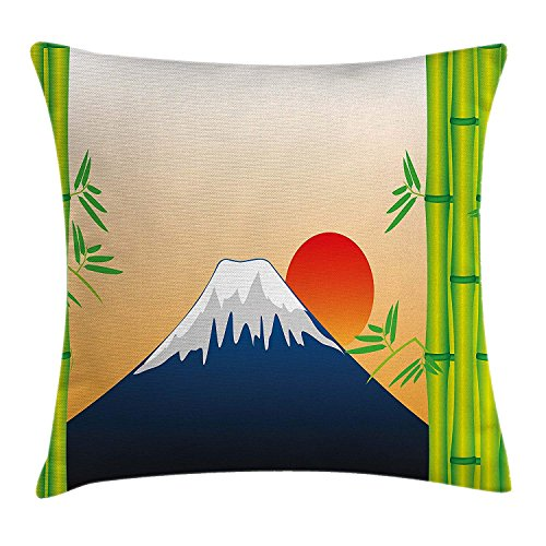 Nature Throw Pillow Cushion Cover, Snowy Mountaintop Fuji at Sunrise Japanese Framework with Bamboo Tree, Decorative Square Accent Pillow Case, 18 X 18 inches, Green Navy Blue Orange