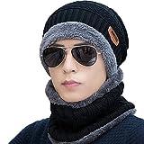 Berretti in maglia Donna Uomo Unisex, Cappello Uomo invernale Berretto Uomo in Maglia con sciarpa (Nero)