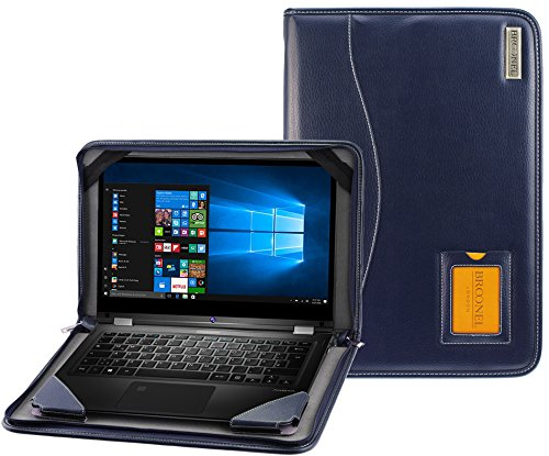 Broonel - Contour Serie - Schutzleder Tasche aus robustem blauem Leder für Fujitsu Lifebook U937