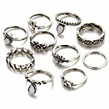 #8: Shining Diva Fashion Antique Silver Set of 10 Midi Finger Rings for Girls