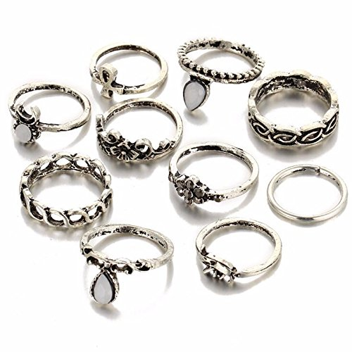 Shining Diva Fashion Antique Silver Set of 10 Midi Finger Rings for...