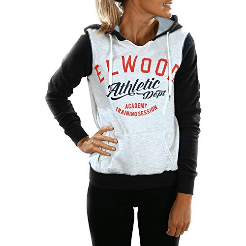 Dhyuen Frauen Casual Hoodie Sweatshirt mit Tunnelzug Brief Print Langarm Pullover Pullover Tops Shirt Bluse mit Tasche