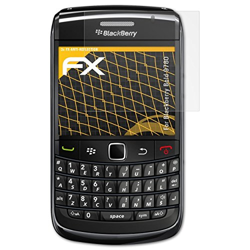 atFolix Panzerfolie kompatibel mit BlackBerry Bold 9780 Schutzfolie, entspiegelnde und stoßdämpfende FX Folie (3X) Blackberry Bold Screen Protector