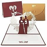 int!rend Biglietto di auguri matrimonio | Pop-Up carta in 3D per compleanno, invito di nozze, San Valentino | biglietto di auguri con busta dorata di altà qualità (4)