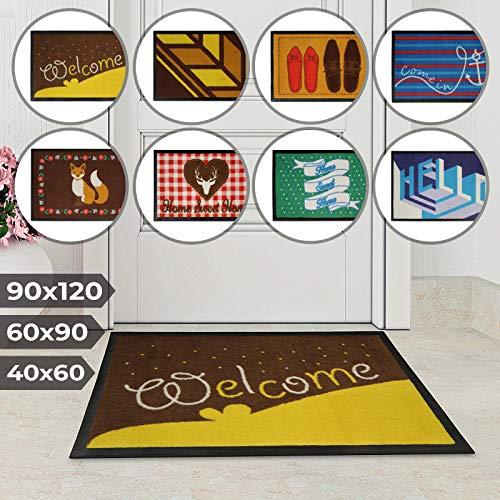 Jago Fußmatte für Eingangsbereiche - in acht verschiedenen Designs und DREI Größen - Türvorleger, Fußabtreter, Schmutzfangmatte, Schuhabstreifer