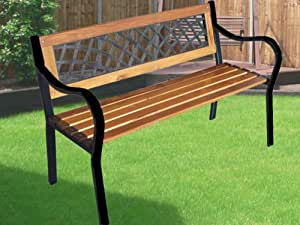 EXPRESS TRADING ® 3 SEATER WOODEN GARDEN OUTDOOR WOOD LATTICE BACK PARK BENCH SEAT FURNITURE