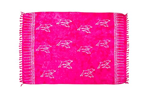 MANUMAR Damen Pareo blickdicht, Sarong Strandtuch in pink mit Delfin Motiv, XL Größe 175x115cm, Handtuch Sommer Kleid im Hippie Look, für Sauna Hamam Lunghi Bikini