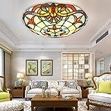 Yjmgrowing Tiffany Style Baroque Lámparas de Techo LED Plafón de Techo Hecho a Mano para vidrieras para la iluminación de la Entrada del Pasillo de la Sala de Estar, Chip...