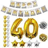 BELLE VOUS 40ème Bon Anniversaire Décorations - Bannière de Happy Birthday, Ballon Numéro 40, Ballons à Étoile, Ballons à Latex, Pompon Fournitures de Fête Parfaites pour 40 Ans