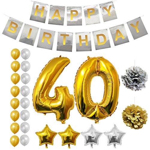 (BELLE VOUS Alles Gute zum Geburtstag Folienballons Gold & Silber Party Dekoration Zubehör Set (Age 40))