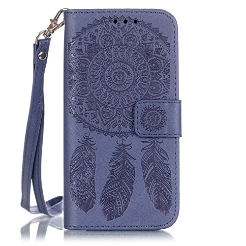 iPhone 7 Plus Fall, iPhone 8 Plus Tasche, [Wallet Stand] Prägung PU Leder Geldbörse Flip Schutzhülle mit Card Slots und Handschlaufe für iPhone 7 Plus Fall, Marineblau