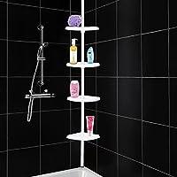 TaoHaoHuo Estantería para ducha vertical porta-accesorios Estantería extensible esquinera para baño extensible hasta 2,5 m con 4 cestas