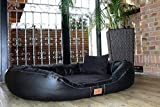 Tierlando® Nonplusultra Lennart Ortopedici Letto Cane con Visco Plus Materasso in Similpelle e Velour! Soft-Lounge! Tgl XXXL 170 cm Nero